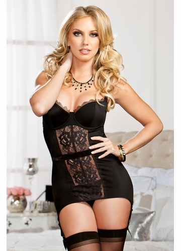 Lace Garter Dress with G-string