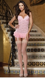 Lace Garter Dress with Open Lace-up Back and Thong