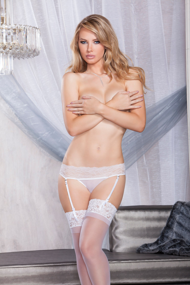 Lace Garter Thong with Strappy Back