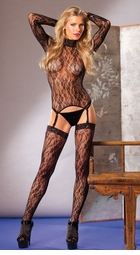 Lace Long Sleeve Suspender Bodystocking