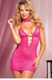 Lace Mini Dress with Mask and Thong