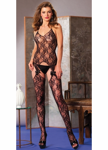 Lace Suspender Bodystocking with Bows