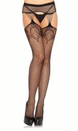 Lace Top Stockings with Attached Garter Belt
