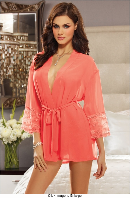 Lace Trim Robe with Matching Lace Boyshort Panty