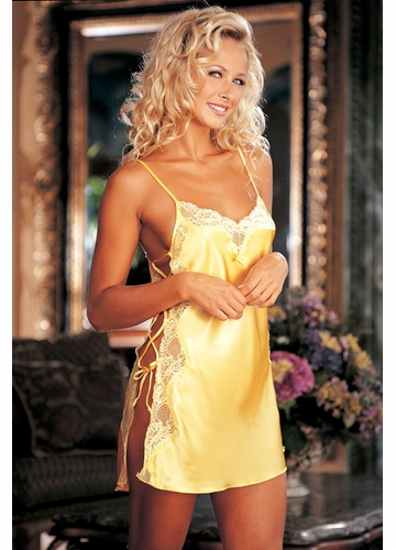 Lace Trimmed Yellow Slip with Side Lacing