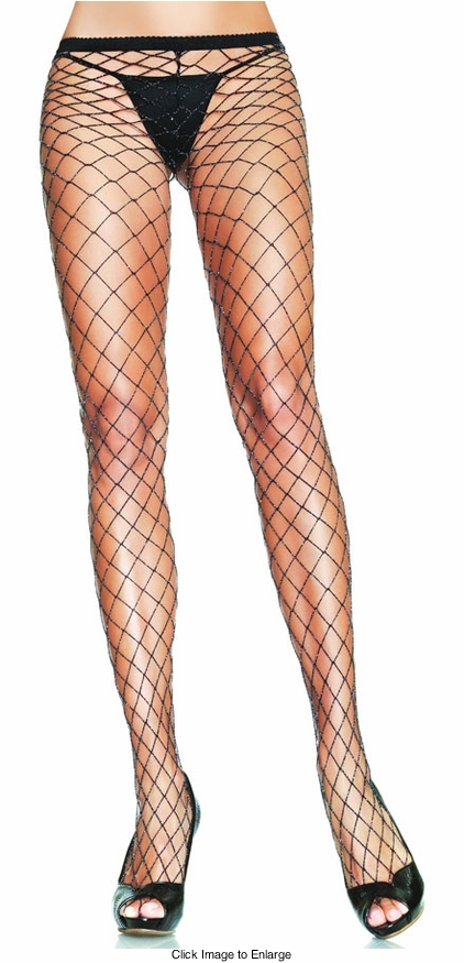 Large Hole Fishnet Pantyhose with Silver Lurex