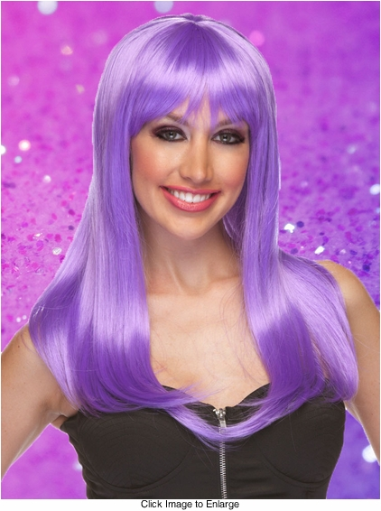 Lavender Long Straight Wig with Bangs Classy
