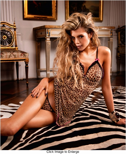 Leopard Mini Dress with Ruffle Trimmed Cups and G-string