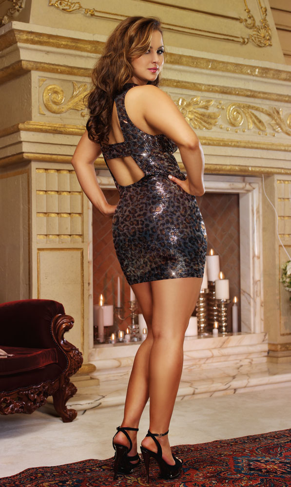 Leopard Sequin Mini Dress Open Back
