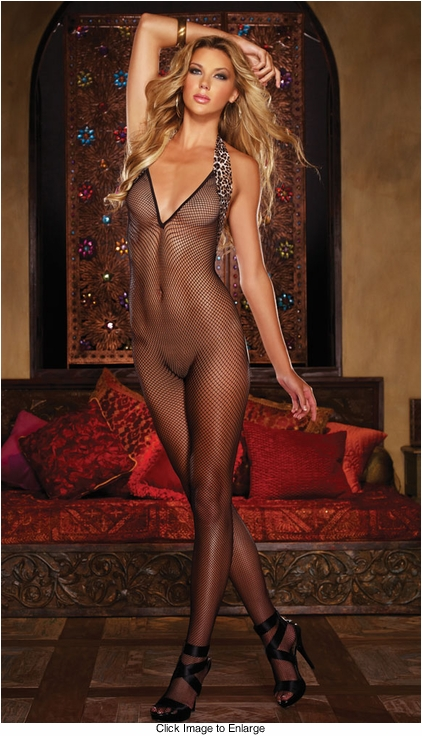 Leopard Trim Fishnet Bodystocking