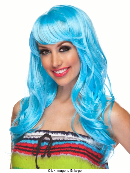 Light Blue Long Curly Wig Burlesque