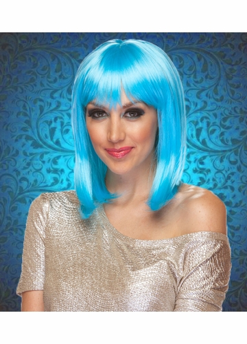 Light Blue Tapered Bob Wig Doll