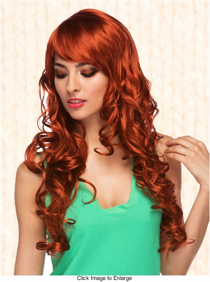 Long Auburn Red Burlesque Wig