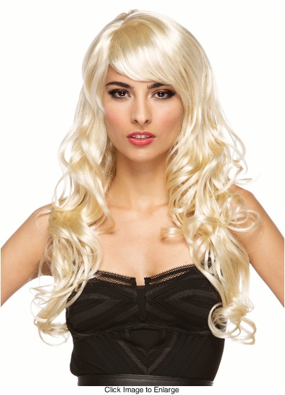 Long Blonde Burlesque Wig with Bangs