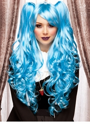 Long Blue Anime Wig with Bouncy Curls Plus Two Hair Pieces