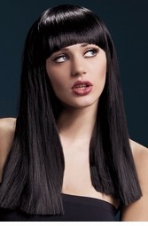 Long Blunt Cut Wig Alexia with Fringe in Black