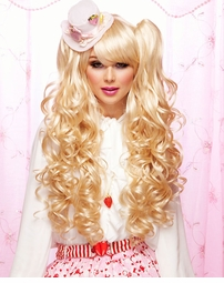 Long Bouncy Curl Anime Wig in Apricot Blonde Plus Two Hair Pieces