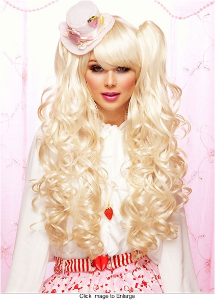 Long Bouncy Curl Anime Wig in Blonde Plus Two Matching Hair Pieces
