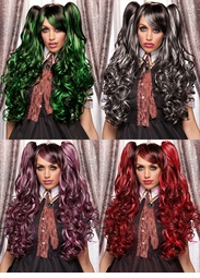 Long Bouncy Curl Anime Wig Plus Two Matching Hair Pieces