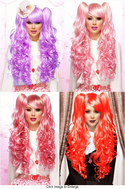 Long Bouncy Curl Anime Wig with 2 Clip-On Hair Pieces