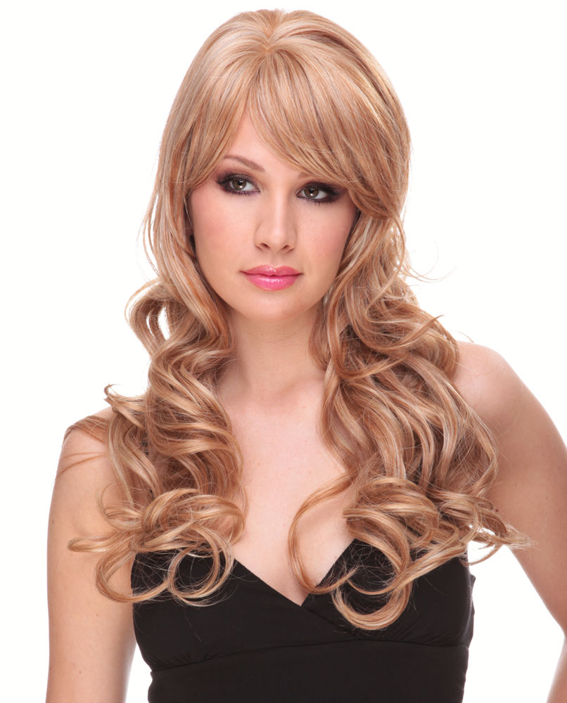 Long Bouncy Glamour Curl Human Hair Blend Wig