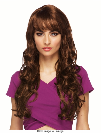 Long Brown Burlesque Wig