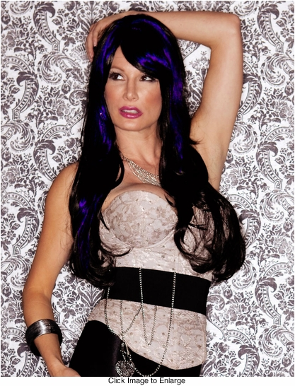 Long Layered Blue and Black Blend Wig with Bangs