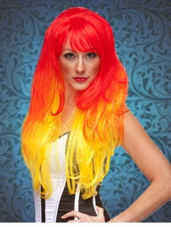 Long Layered Fiery Red and Yellow Wig with Bangs