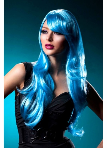 Long Layered Blue Wig Carmen with Bangs