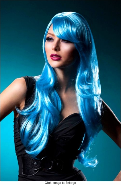 Long Layered Sultry Blue Wig with Bangs