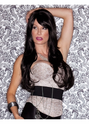 Long Layered Sultry Onyx Black Wig with Bangs