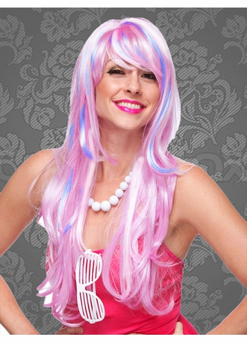 Long Layered Sultry Pink, Blue and White Blend Wig with Bangs