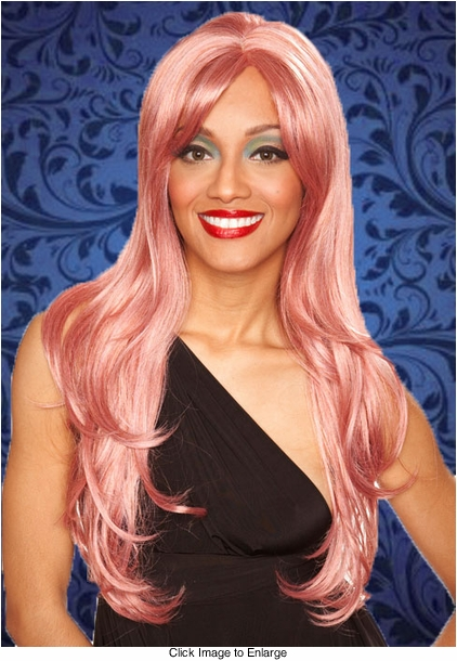 Long Layered Sultry Wig with Bangs in Dark Pink