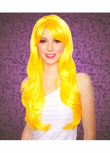 Long Layered Sunburst Yellow Wig with Bangs