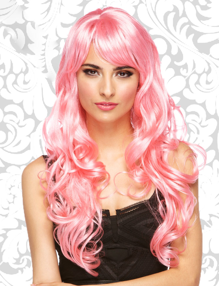 Long Light Pink Wig With Bangs 62
