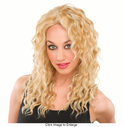 Long Loose Curls Human Hair Blend Wig