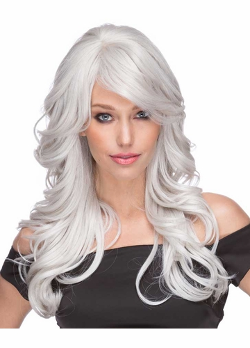 Long Loose Wave Wig Phoenix in White Silver