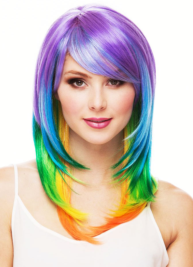 Long Multi Color Layered Wig