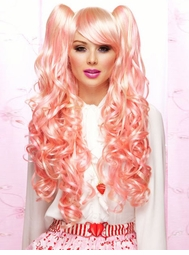 Long Pink and Vanilla Wig with Bouncy Curls Plus Two Hair Pieces