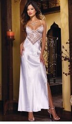Long Satin and Lace Gown