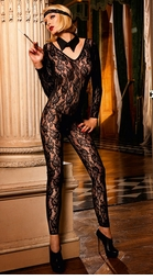 Long Sleeve Lace Footless Bodystocking
