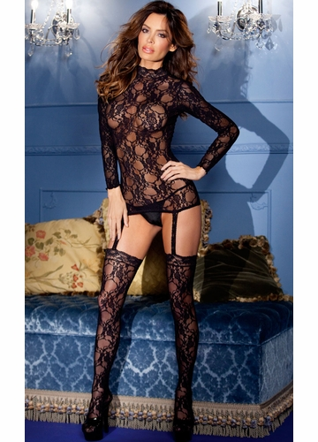 Long Sleeve Lace Suspender Bodystocking with Thong