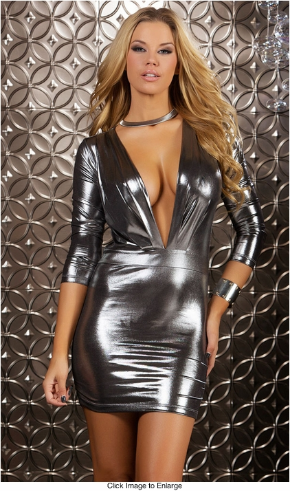 Long Sleeve Mini Dress with Plunging Neckline