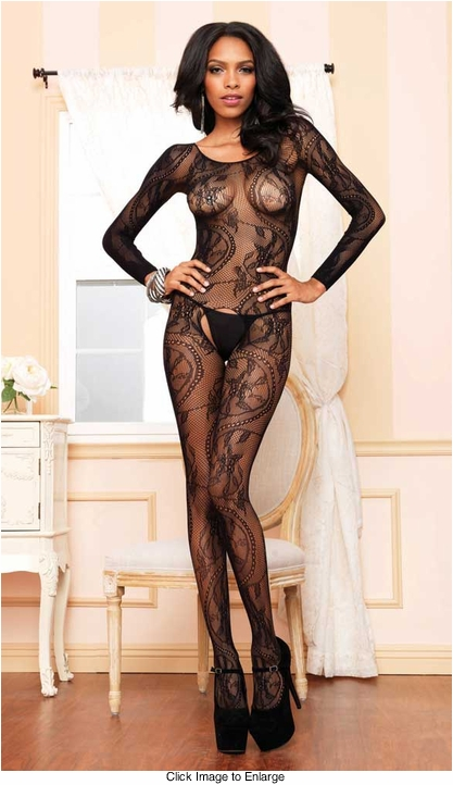 Long Sleeve Swirl Lace Bodystocking