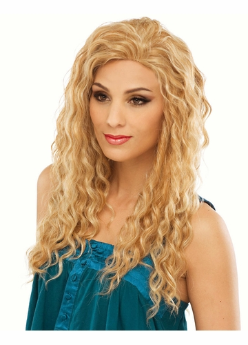 Long Spiral Curls Human Hair Blend Wig