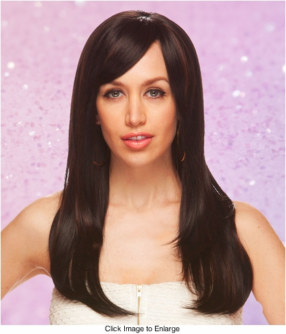 Long Straight Lace Front Wig with Side Swept Bangs