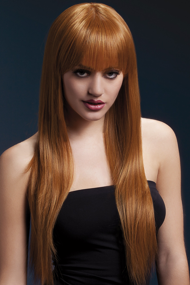 Long Straight Wig Jessica with Fringe in Auburn
