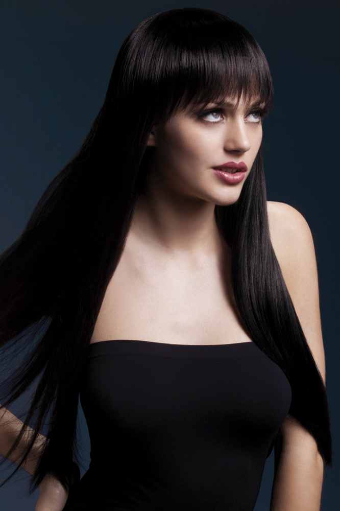 Long Straight Wig Jessica with Fringe in Black