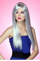 Long Straight Wig with Bangs in Chrome