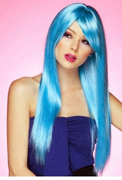 Long Straight Wig with Bangs in Cool Blue
